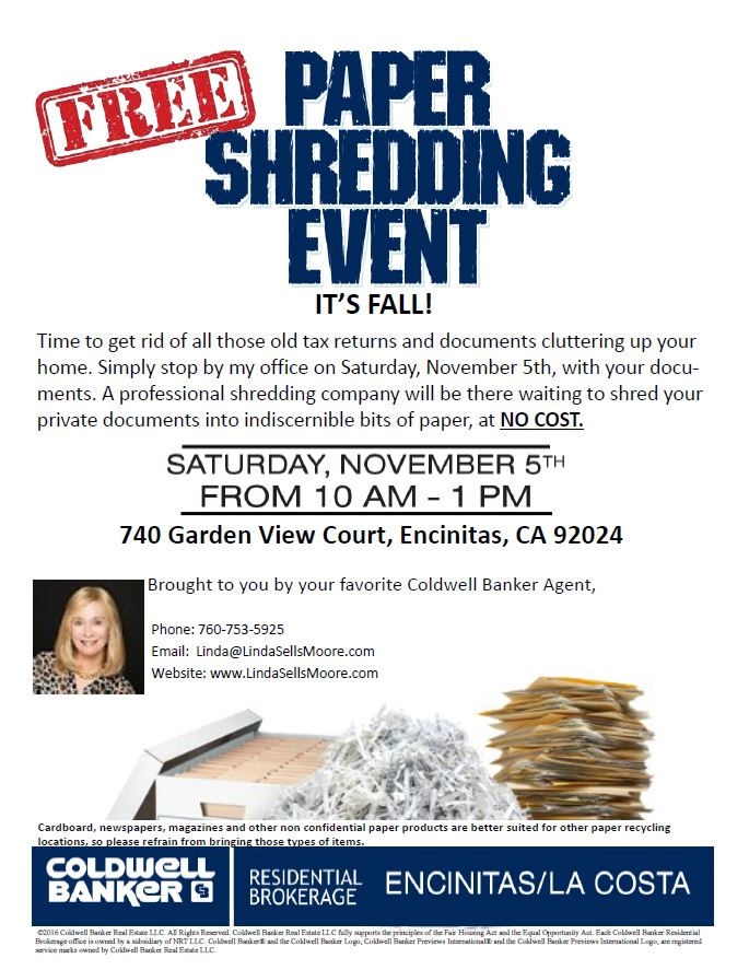 free paper shredding event encinitas realtor With document shredding encinitas